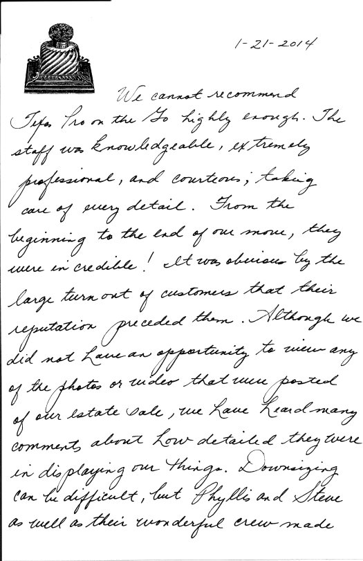 Pam and Bobby G. letter page 1