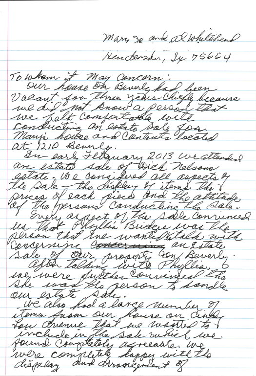 Al and Mary W. letter page 1